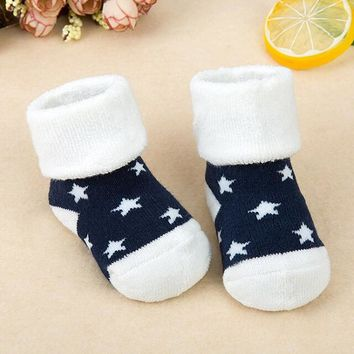 1 Pair Newborn Cotton Winter Baby Girls Boys Kids Socks Infant Striped Terry Warm slippers Star Brand New Children Dot