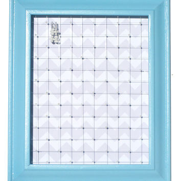 Jewelry Organizer // Organize, Store & Hang Earrings // Blue Chevron // Eco-Friendly Storage Organization / Large Earring Display Frame Gift