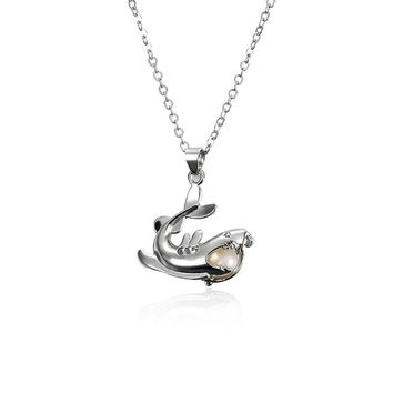 Retro Pearl Necklace Exquisite Cool Shark Openable Pendant Jewelry for Men Women Gift