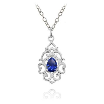 Filigree Heart Created Blue Sapphire Teardrop Necklace in Sterling Silver