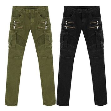 qiyif Denim Biker men Skinny Jeans Runway Distressed