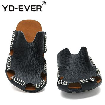YD-EVER 100% GENUINE LEATHER MEN SANDALS-handmade Summer fashion brand beach slippers casual moccasin Handmade Soft Loafers 65