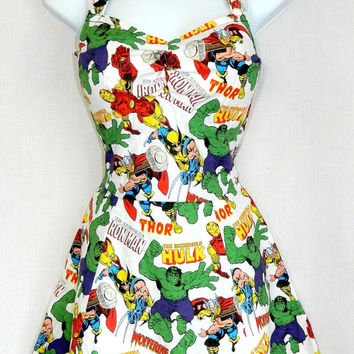 Marvel Avengers comic dress. Custom size