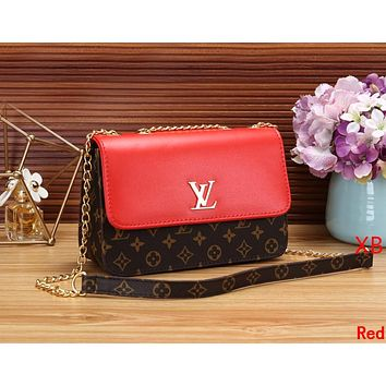 LV Louis Vuitton Women Leather Metal Chain Shoulder Bag Crossbody Satchel Red