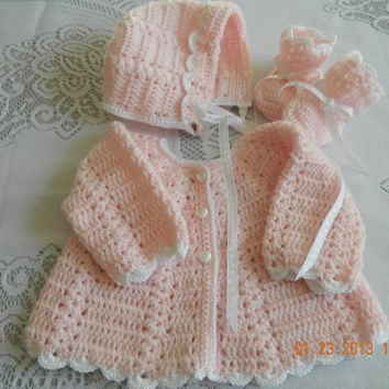 Stunning 3 piece Hand Crocheted Christening/Newborn SWEATER SET, Paton's Beehive Yarn/sweater/bonnet/booties/FREE Shipping
