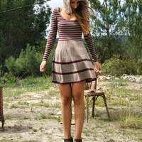 Multi Day Dress - Stripe Leotard neck sweater dress | UsTrendy
