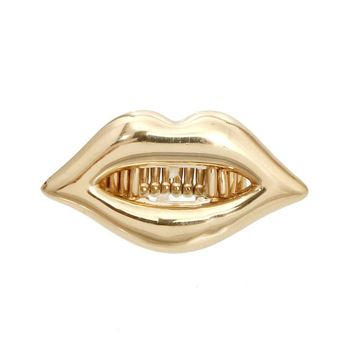 Dramatic Lips Gold Grillz Stretch Ring