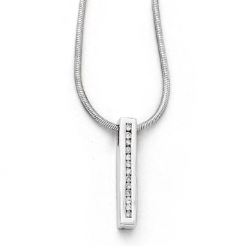 Diamond Vertical Bar Necklace in Rhodium Plated Silver, 18-20 Inch