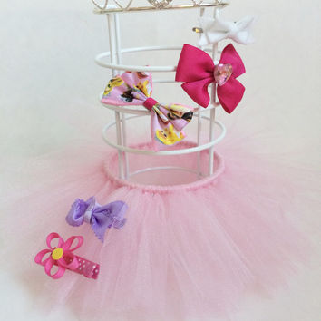 hair clip holder,hair bow holder, princess decorations, tutu decoration, hair bow stand, pink tutu, hair bow organizer, hair clip display