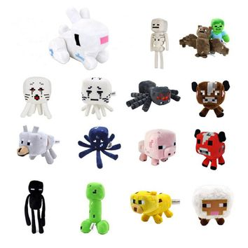 15 Styles Minecraft Stuffed Plush Toys 16-26cm Minecraft Creeper Enderman Wolf Steve Zombie Spider Sketelon Plush Toy for Kids