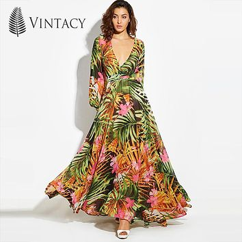Vintacy 2018 Fashion women summer maxi beach dress green v neck long dresss bohemian lantern sleeve boho dress femal party dress