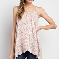 Pink Floral Tulip Front Ruffled Top