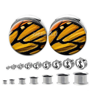 Double flared  steel Monarch Butterfly Wing  Plug   , Body Piercing Jewelry  ,Stainless steel  ear plugs,tapers and plugs,0g, 00g