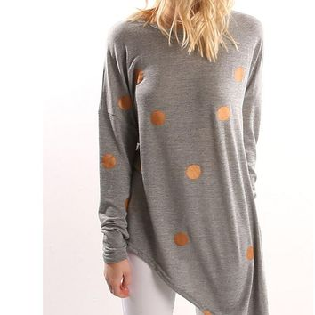 Womens Irregular Polka Dot Long Shirt Long Sleeve Blouse +Gift Necklace