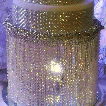 Wedding Cake Stand With Crystals/ Chandelier Acrylic beads, Also available in Crystal Beads.