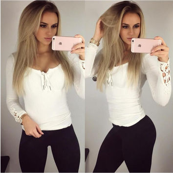 White Cut Out Long Sleeve Blouse