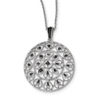 Sterling Silver Black Diamond Filigree Circle Pendant Necklace