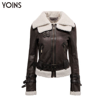 YOINS Women Fashion Slim Fit Fur Collar Zipper Motorcycle Leather Jacket Coat Female Winter Warm Leather Jacket