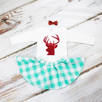 Girls Christmas Skirt Outfit | Red Deer Christmas Top with Mint Buffalo Plaid Skirt | Complete Baby or Toddler Christmas Set