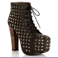 Pyramid Studded Lace Up Booties