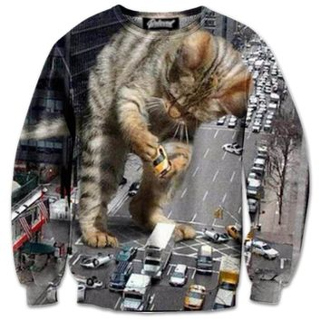 Kitty Catzilla Destroying NYC All Over Graphic Print Pullover Sweater | Gifts for Cat Lovers