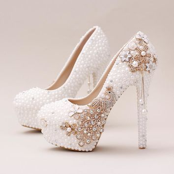 white pearl, Phoenix, bride shoes, high heels wedding shoes custom name for marry bride female women shoes with pearl tassel