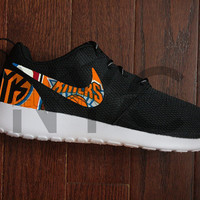 New York Knicks Nike Roshe Run Black Custom