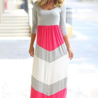 Coral and Gray Chevron Maxi Dress