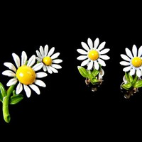 Daisy Flower Brooch and Earrings Set White Enamel with Yellow Center