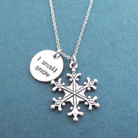 I smell snow, Snowflake, Silver, Necklace, Gilmore, Lorelai, Winter, Snow, Necklace, Lovers, Friendship, Sister, New year, Gift, Jewelry