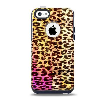 The Vibrant Striped Cheetah Animal Print Skin for the iPhone 5c OtterBox Commuter Case