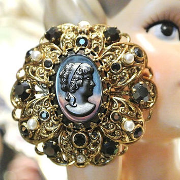 Cameo Brooch Germany Black Satin Glass Faux Seed Pearls Shiny Black Rhinestones 1950s Victorian Renaissance Revival Mid Century High Fashion