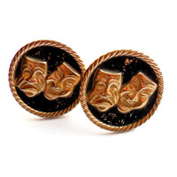 Vintage Drama Mask Cuff Links Comedy Tragedy Gold Tone Black Enamel Laugh Now Cry Later Happy Sad Laugh Groom Wedding Formal Gift
