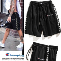 Champion new fashion summer embroidered men and women print sport shorts Black