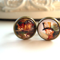 Alice in Wonderland  cheshire cat mad hatter   6mm 2G plugs sweet lolita feminine
