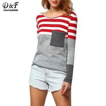 2016 Womens Color Block Tee Summer Fashion Tops Casual Vintage Shirt Grey Long Sleeve Round Neck Striped Pocket T-Shirt