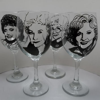 Golden Girls, Painted Wine Glasses, Hand Painted Glasses