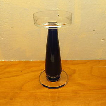 COBALT BLUE AND CLEAR CANDLE HOLDER