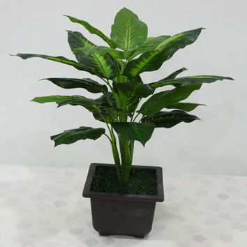 1PC 50cm Lifelike Leaves Evergreen Artificial Plant Bush Potted Tree Flower Decor without Vase for Home Office Garden