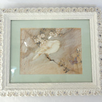 shabby chic picture bird on branch vintage wall hanging white framed art
