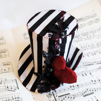 Gothic Voodoo Heart Striped Mini Top Hat - Nightmare Before Christmas Mini Top Hat - Gothic Tea-party Mini Hat - Made to Order