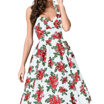 Chicloth Retro Rose Floral Halter Cannes Swing Dress