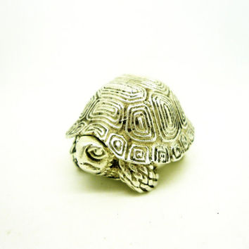 Solid Silver Turtle Tortoise Pill Box, Sterling, Douglas Pell Silverware, NOVELTY, Hallmarked London 1993, REF:255Q