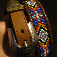 Vintage Brown Leather Beaded Indian Tribal Belt, size medium 28 inches