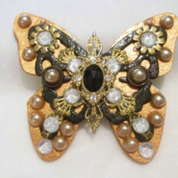 Beautiful Brooch, Pin, Art Jewelry, Butterfly, Art Brooch, Mixed Media, Handmade Jewelry, Rhinestones, Faux Pearls, Gold Filigree, New Clasp - Edit Listing - Etsy