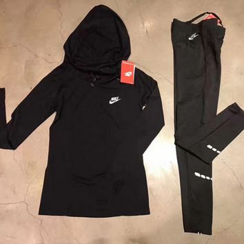 """Nike"" Fashion Hooded Pullover Leggings Gym Yoga Running Two piece"