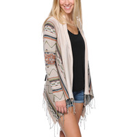 Billabong Girls Dream Chaser Tribal Stripe Fringe Wrap Sweater at Zumiez : PDP