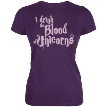 CREYCY8 I Drink The Blood Of Unicorns Frappe Funny Juniors Soft T Shirt