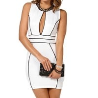 White/Black Keyhole Bodycon Dress