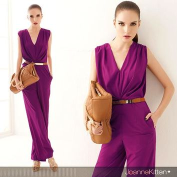 2016 New woman jumpsuits V neck summer elegant formal OL work wear lady rompers overalls for women purple, green,blue